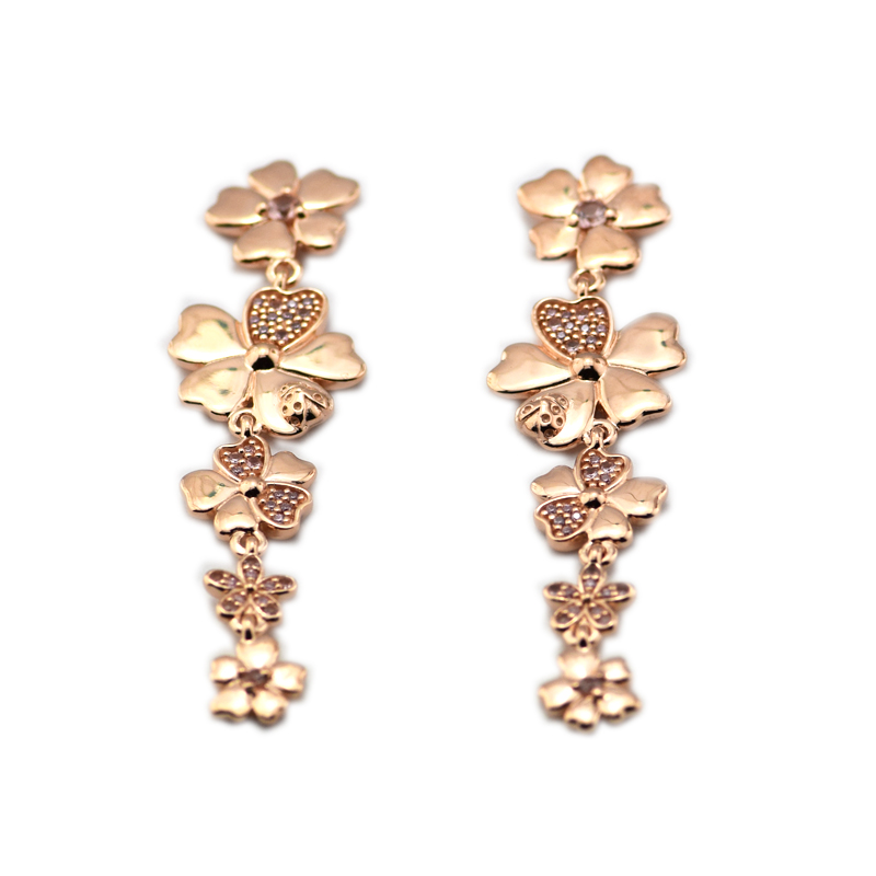 925 Sterling Silver Wildflower Meadow Drop Earrings, Rose Gold Blush Pink Crystals Jewelry For Women Fashion Charms wildflower