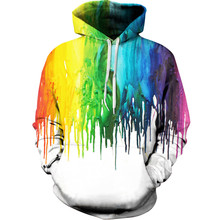 Harajuku 3D Print Colorful paint Sweatshirts Fashion Long sleeve with hat Men Women vogue Hooded Hoodies Tracksuit Pullover Tops