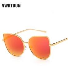 VWKTUUN Óculos Cateye Olho de Gato Retro Dos Óculos De Sol Das Mulheres Designer De Marca Oculos Espelho de Grandes Dimensões Óculos de Sol Dos Homens Dos Óculos De Sol Feminino