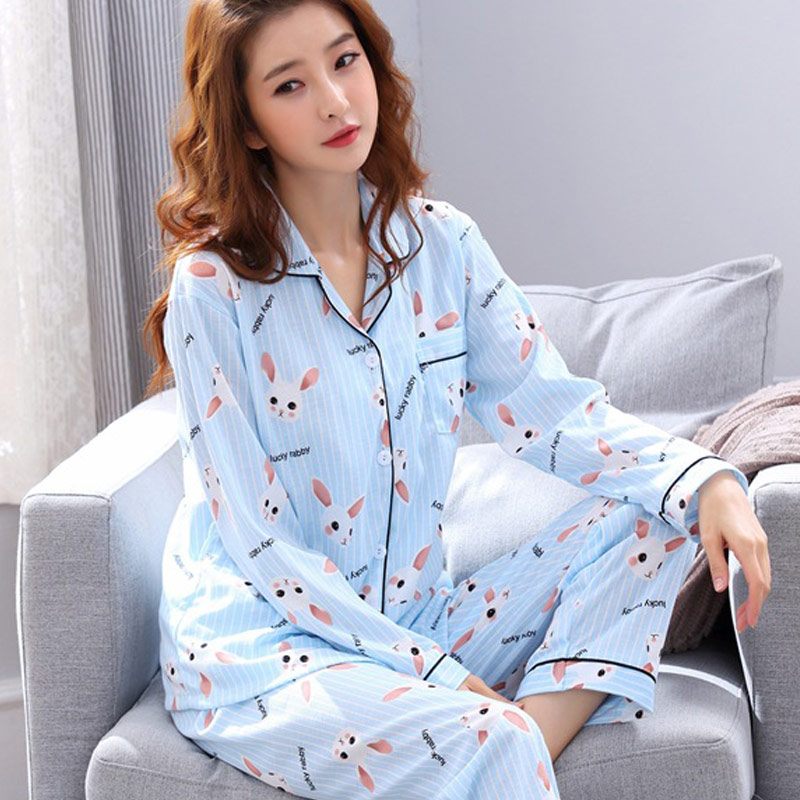 2Pcs Autumn Women   Pajamas     Set   Cartoon Printed Long Sleeve Sleepwear Pants Fashion Pyjamas Women Pijama Feminino