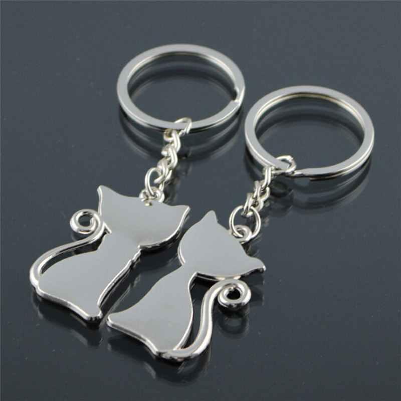 คู่แมวพวงกุญแจคู่รักเครื่องประดับเคลือบแหวนสำหรับรถ Key Chain ของขวัญวันวาเลนไทน์