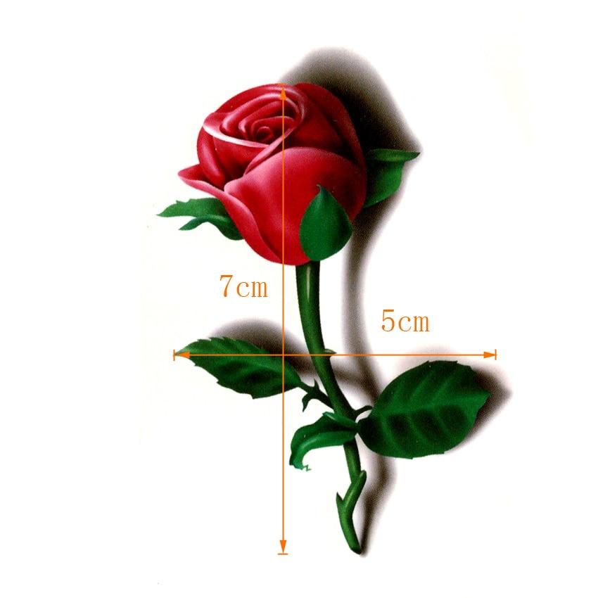 3D  Red Rose Waterproof Temporary Tattoos Men Beauty Flowers Harajuku Tatoo Sleeves Faux Tatouage Temporaire Femme Stickers 1