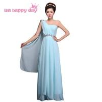 light blue beautiful high school cute girls one shoulder a line long floor  length dress pageant a76deda531e0