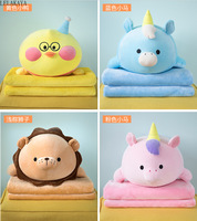 1pcs Plush Flannel Pillow with Blanket 2 in 1 cute Cartoon Lion Little Yellow Duck Seat Car Cushion Pillow Sofa Blanket toy new