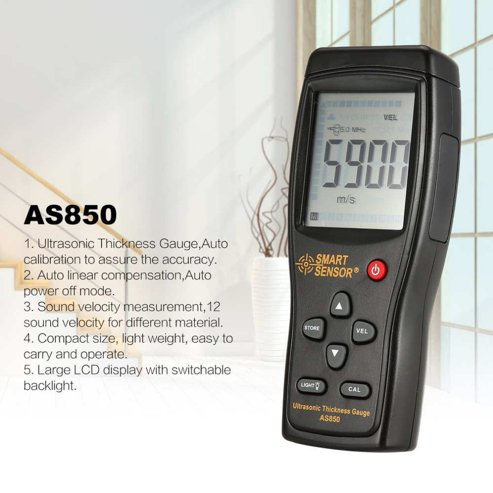 AS850 Ultrasonic Thickness Gauge Tester Sound Velocity Meter Metal Width Measuring Instrument 1.2 to 225MM
