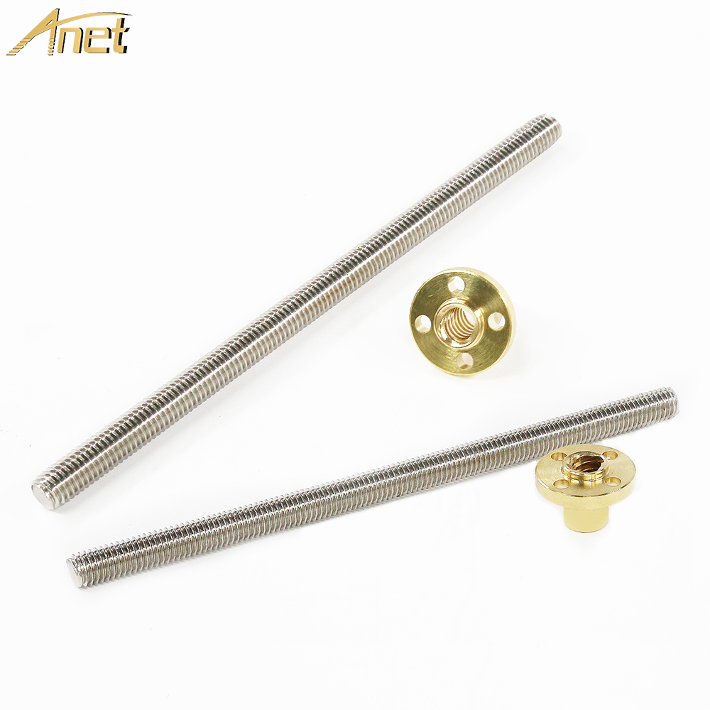 Anet 3d Printer Parts Linear T-shaped Screw With Copper Brass Nut For 3D Printers Lead Screw Part 345mm 318mm Optional