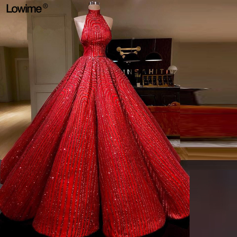 Luxury Red Bling   Evening     Dresses   A-Line Sleeveless High Neck   Evening   Gowns Long Celebrity Red Carpet   Dresses   Robe De Soiree