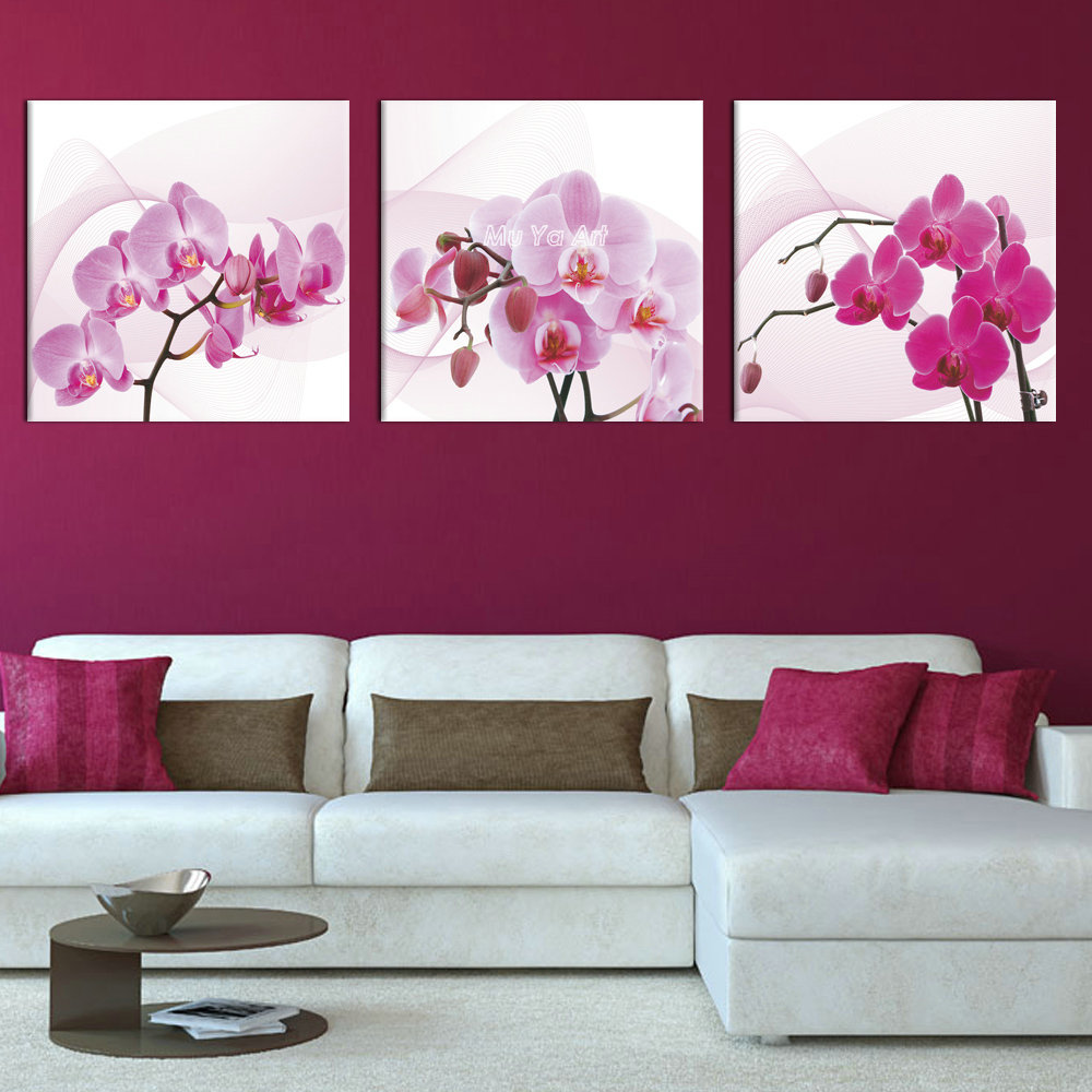3 Panel Pink Canvas Prints Canvas Art Orchid Modern Flower Painting Wall Picture For Bedroom