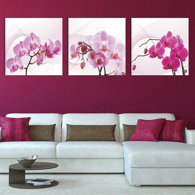 3 panel pink canvas prints canvas art orchid modern flower painting wall picture for bedroom living