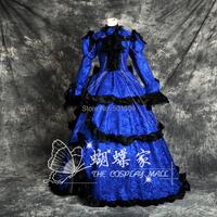 blue lace long medieval dress Renaissance lace Gown queen ball gown Victorian /Marie Antoinette/ Belle Ball