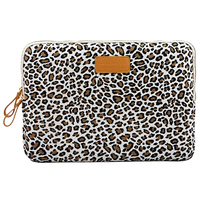 KAYOND Laptop Sleeve Case 15 Inch Computer Bag Notebook For Ipad Tablet For MacBookBeige Leopard
