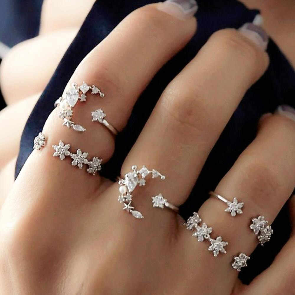 5 Rings Set New Bohemian Vintage Women Ring Alloy Star Moon Shape Finger Anillos Punk Ring Gift Popular Magnificent Jewelries