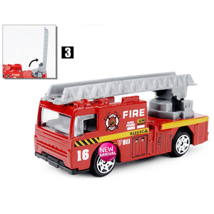Image 2 - 6PCS/Set 1:87 Firefighter Fire Fighting Truck Engine Helicopter Control Operator Protection Fireman Kids Toys Boys for sam
