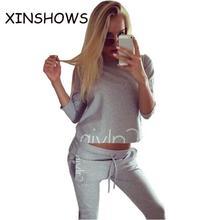Calvin 2016 Winter Ladies Sportsuit Brand Hoodies suit Tracksuit for women 2 Pieces Set Streetwear Sweatshirts Pullover