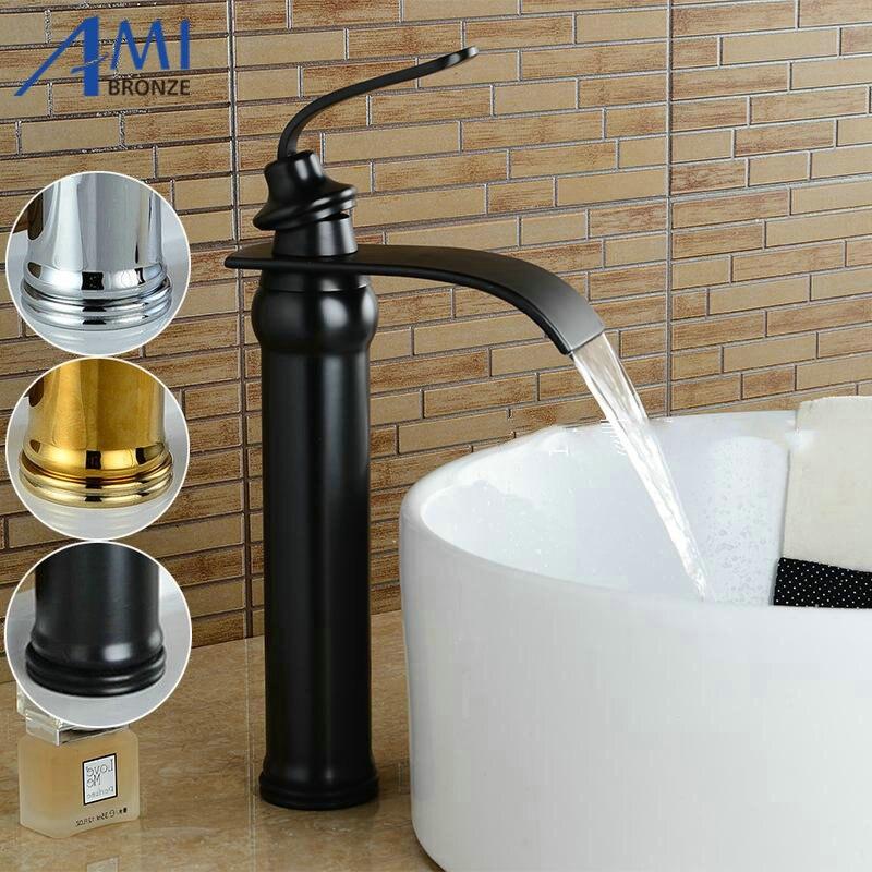 Nouvellement robinets de bassin salle de bains bassin évier en laiton mélangeur robinet chaud froid noir robinet cascade mélangeur salle de bains robinet