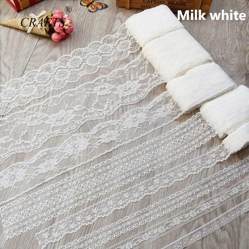 2018 глобальная горячая распродажа 10 ярдов Красивая молочно-белая кружевная лента Европейская кружевная ткань кружева шитье вышивка платье аксессуары