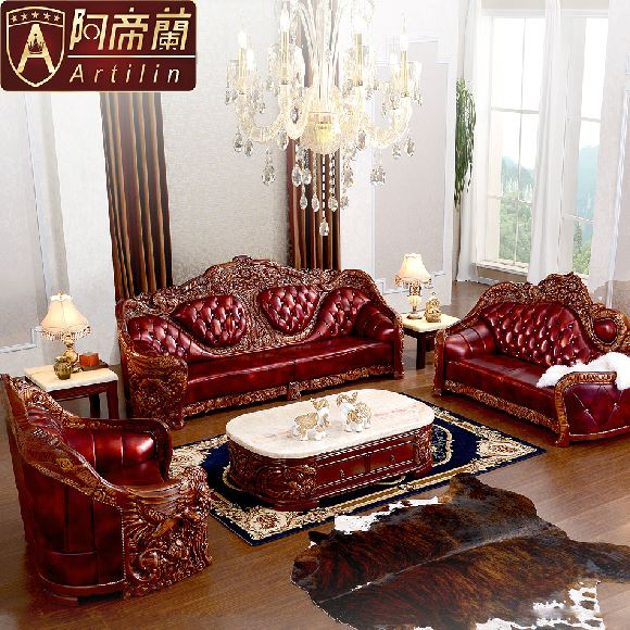 High Grade Artilin Luxury European Style Royal Genuine Leather Sofa Chaise Longue Couch Solid