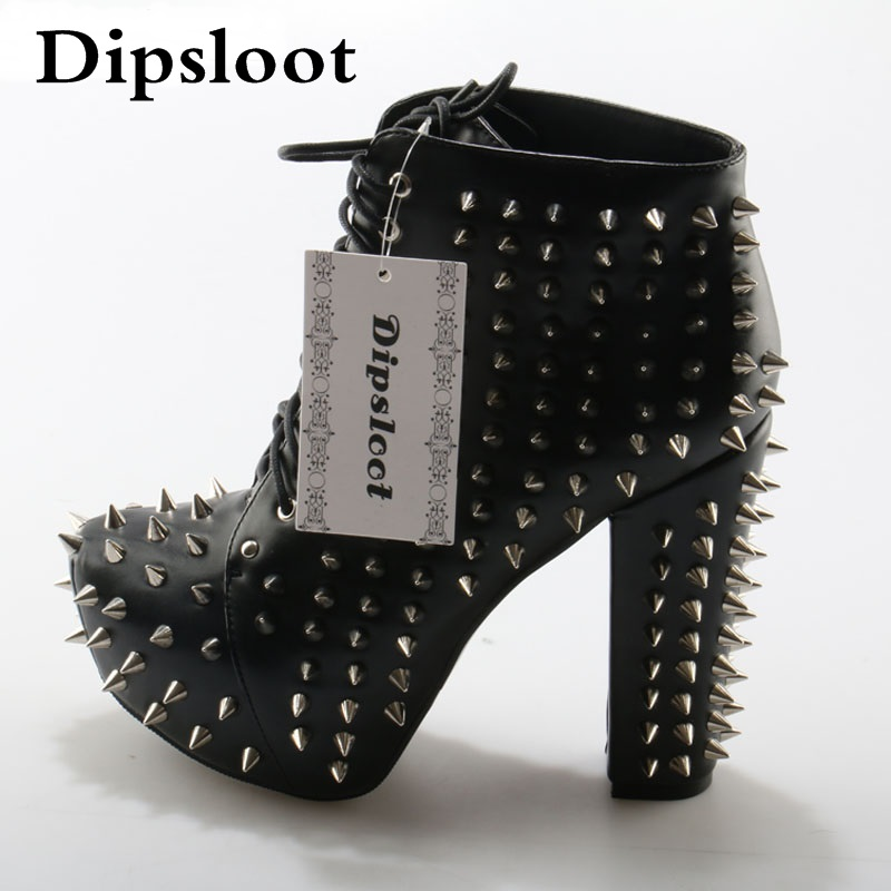 Punk Style Spike Rivets Studded Martin Ankle Boots Platform Chunky High Heels Boots Sexy Women Lace up Stage Short Booties free shipping men s cool stylish spike rivet studded leather motorcycle martin boots punk rock fashion shoes for men