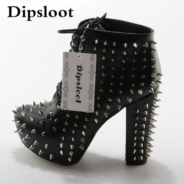 Punk Style Spike Rivets Studded Martin Ankle Boots Platform Chunky High  Heels Boots Sexy Women Lace up Stage Short Booties 1fa9535812d6
