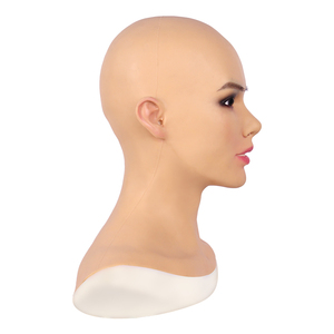 Image 4 - Soft Silicone Realistic Female Head Mask Betris Angel Face with Neck Fake Breast Forms for Crossdresser Transgender Shemale Doll
