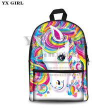 school bag cute unicorn cartoon Backpack For Women Girl Canvas bag Lisa Frank 3d printed Rucksacks backpack travel Shoulder Bag(China)