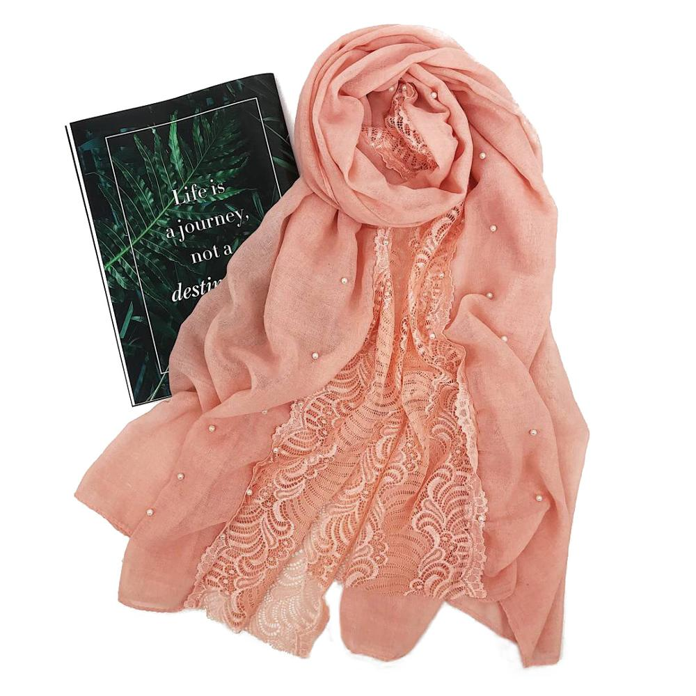 Women floral lace beads hijab   scarf   bandhnu cotton muslim   scarves     wraps   pearl headband shawls 180*80cm 10pcs/lot