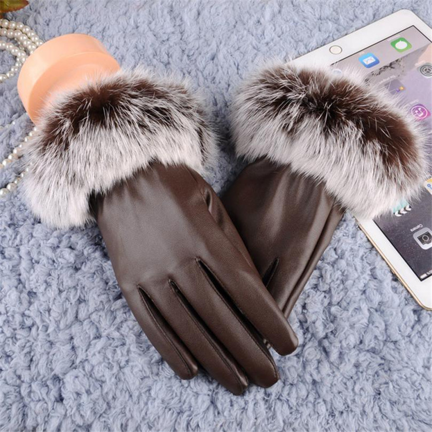 Back To Search Resultsapparel Accessories Free Ostrich 2019 Woman Lady Black Pu Leather Gloves Autumn Winter Warm Rabbit Fur Female Gloves Guanti Invernali Donna B0140