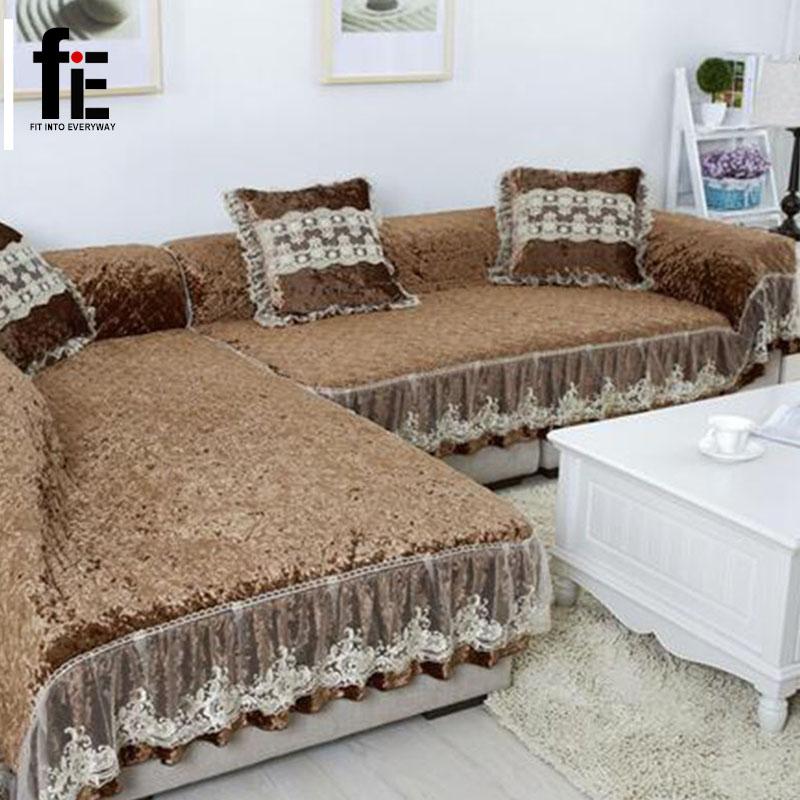 Thick winter wooden fabric sofa cover soft elastic gold - Big size couch ...