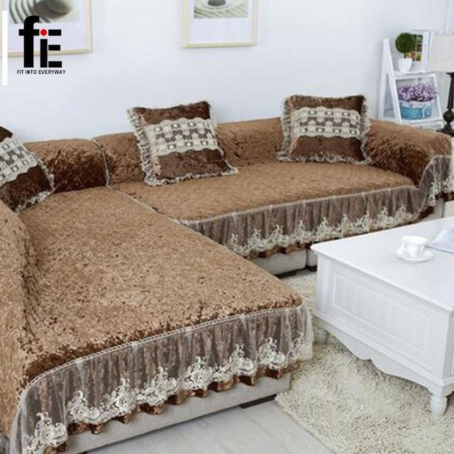 Thick Winter Wooden Fabric Sofa Cover Soft Elastic Gold Velvet Sofa Mat Big  Size Sofa Cushion