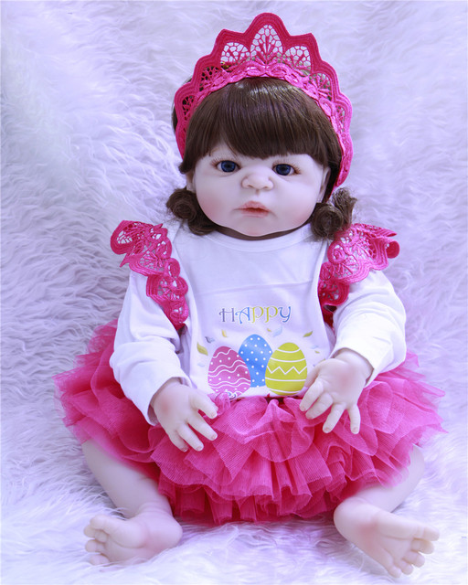 f6fd461b8 dollmai COLLECTION 55cm Full Silicone Body Reborn Baby Doll Toy Like Real  22inch Newborn Girl Princess Babies Doll Bathe Toy Kid