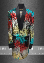 mens bling colorful full sequined beading event long jacket /dance/jazz/trendy stage performance jacket