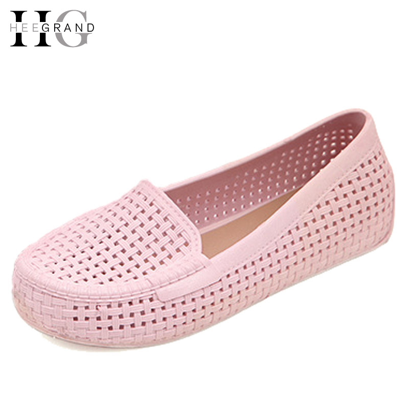 HEE GRAND Women Jelly Platform Hollow Sandals Casual Jelly Shoes Woman Summer Style Slip On Women Shoes XWZ3307 hee grand 2017 gladiator sandals summer platform shoes woman slip on creepers rhinestones casual wedges women shoes xwz3547