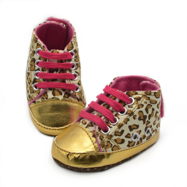01b39542b0566a Cute Baby Girl Shoes Infant Toddler Leopard Gold Crib Shoes Walking Sneaker Size  11