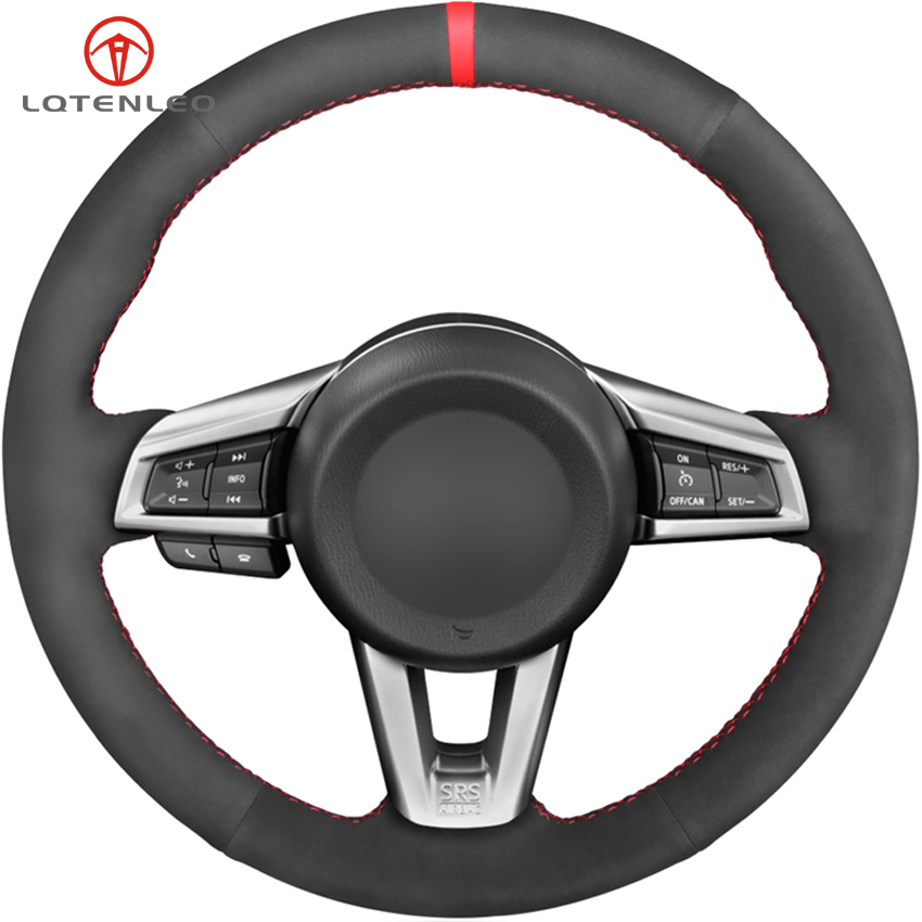 LQTENLEO Black Suede DIY Hand stitched Anti Slip Car Steering Wheel Cover For Mazda MX 5