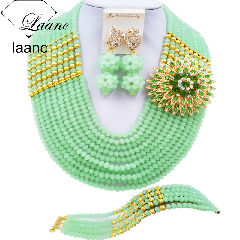 Laanc 10 Rows Mint Green Nigerian Beaded African Beads Jewelry Set Crystal Bridal Wedding Jewelry Sets C22P008