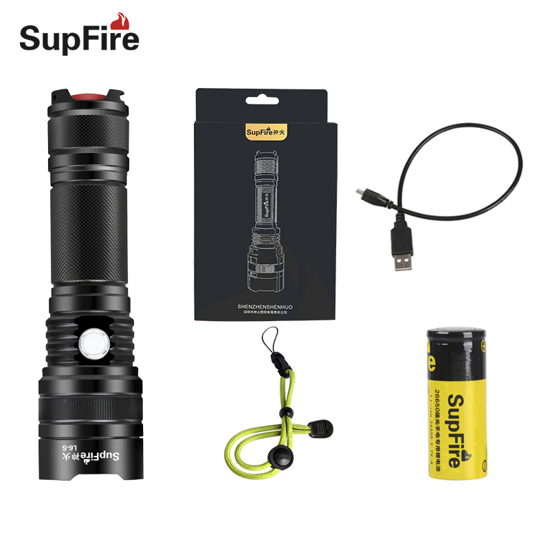 Supfire USB 26650 Flashlight L6-S Bicycle Flashlight 1100lm 10W Bike Light Camping Portable Tactical LED Torch Hard Light S101