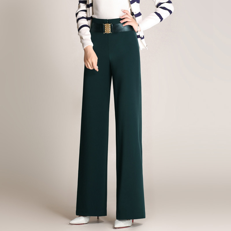 Brand High Waist Wide Leg Baggy Pants For Autumn Spring New Red Green Brown Straight Polyester Full Length Trousers M To 6XL-in Pants & Capris from Women's Clothing    1