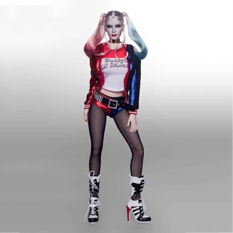 1/6 Scale Suicide Squad Harley Quinn Clothes Set with Head Sculpt for Female 12 inches Action Figure Bodies
