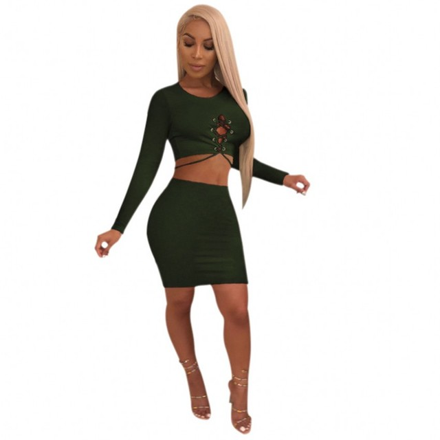 06bbf7062cd9 Zmvkgsoa Women Summer 2 Piece Set Lacing Long Sleeve Crop Top And Package  Hip Mini Skirt Ladies Casual Two Piece Outfit Y10099