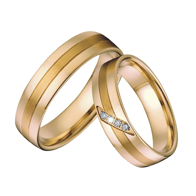 Mens Anniversary Wedding Band Rings Gold Color alliances Jewelry Bridal Couple Engagement Rings for women