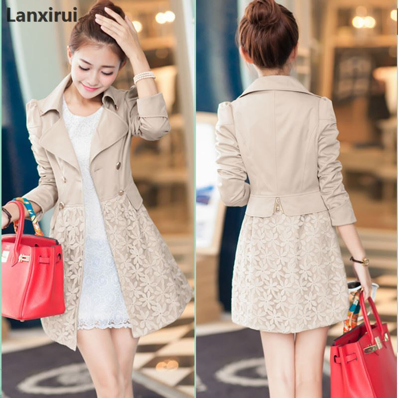 Spring New Women 'S Korean Cultivating Ol Long Sections Of Fresh Lady Elegant Lace Stitching Coat 1007