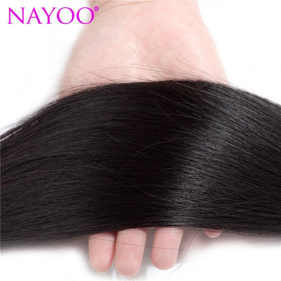NAYOO brasilianska Remy Hair 8-26 tums 100% brasilianska - Mänskligt hår (svart) - Foto 4