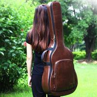 40/41 Inch Acoustic Guitar Bag Folk Guitar Backpack Thicken Travel Guitar Case Shoulder Bag Waterproof Shockproof PU Leather Bag