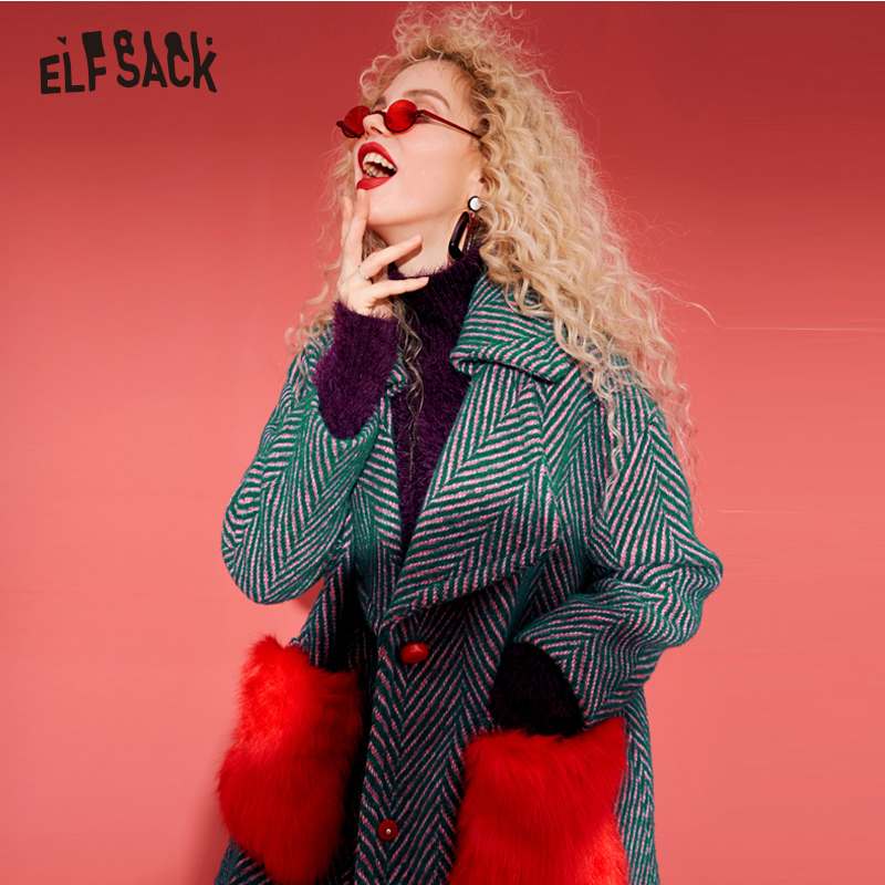 ELF SACK Wool Coats Women Winter Red Fur Pockets Straight Womens Coats Oversize Turn Down Collar