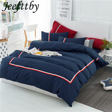 2018 New product Home Textiles blue British Style Comfortable Soft Solid Color Bedding Set Sheets Quilt Cover Pillowcase 3/4pcs(China)