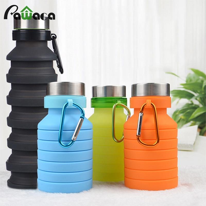 Botella de agua plegable de silicona portátil para deportes al aire libre botella telescópica de viaje botella de agua plegable 550 ml