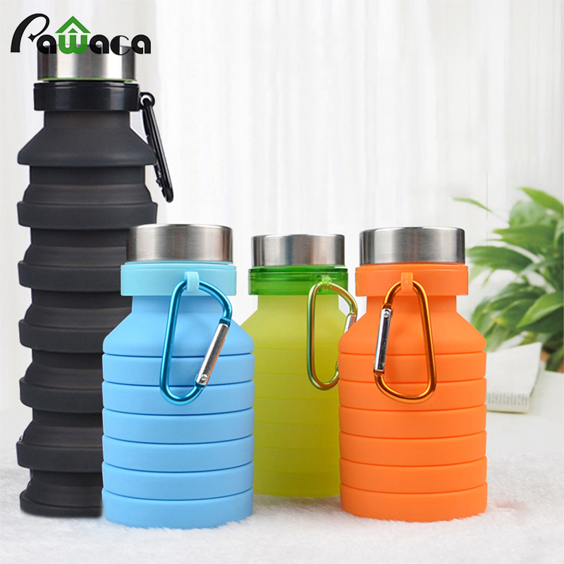 Portable Silicone Collapsible Water Bottle for Sports Outdoor Travel Telescopic Bottle Collapsible Kettle Drink Bottle 550ml