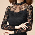 Новый сексуальный женщин способа высокого качества кружева с длинным Рукавом Водолазки тонкий футболка женская весна осень пуловер черный белый топы