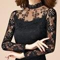 New sexy moda feminina de alta qualidade lace Manga comprida Gola fina t-shirt feminina primavera outono pullover topos brancos pretos