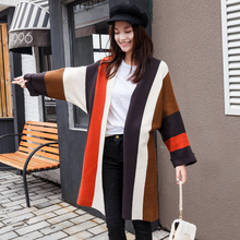 2017 spring and autumn women new fashion color loose knit cardigan long paragraph leisure sweater jacket TB84